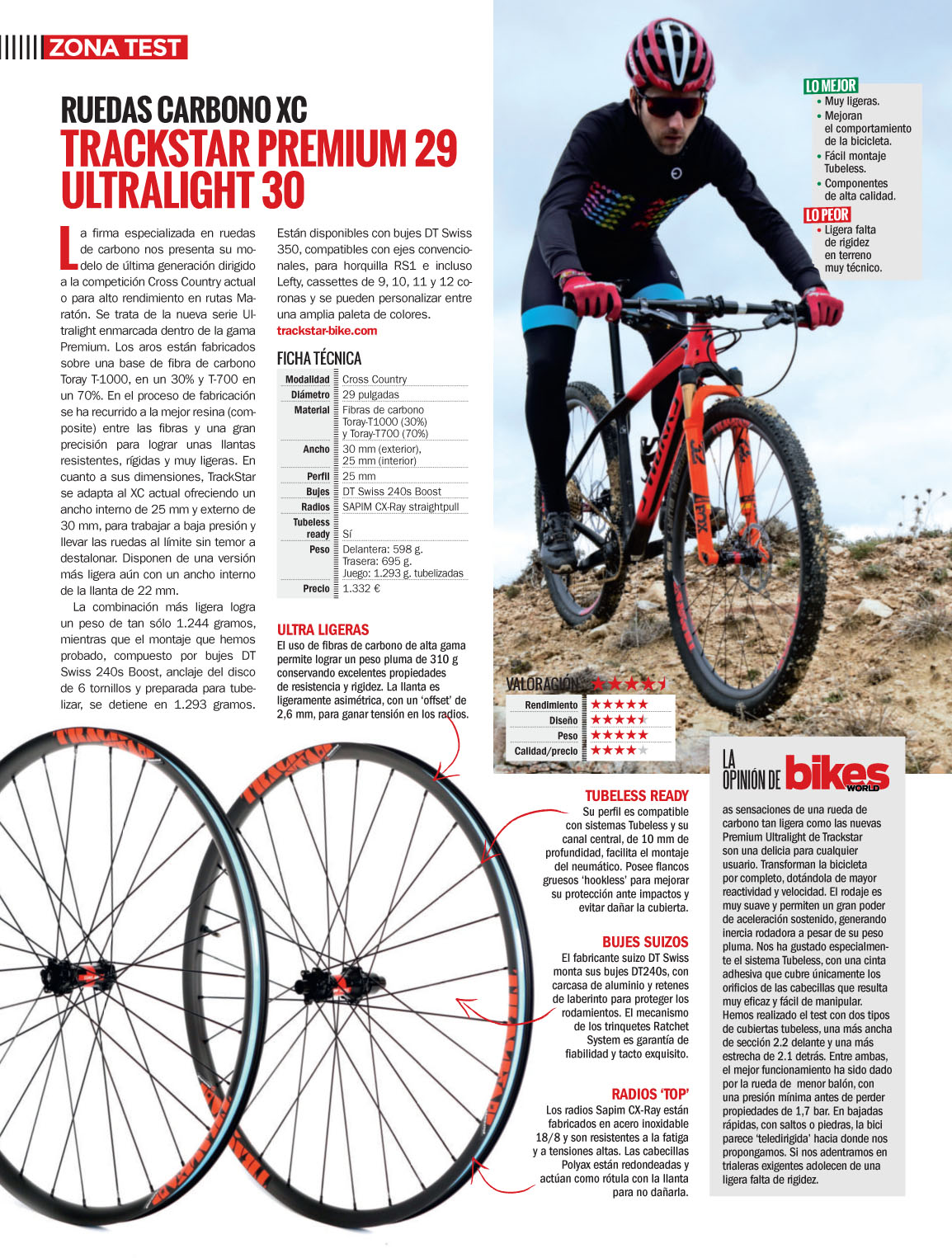"Prueba ruedas TRACKSTAR 29"" ULTRALIGHT-30 por BikesWORLD Abril-2018"