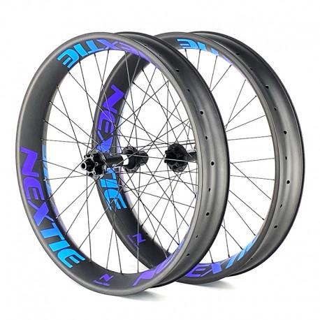 "Juego de ruedas ligeras de carbono FAT 26"" - pared simple, 65 a 105mm ancho, bujes DT Swiss DT350"